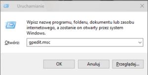 gpedit run 300x152 Dodajemy edytor lokalnych zasad grupy do systemów Windows serii Home