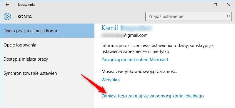 konto 1 Zmieniamy Konto Windows na konto lokalne w Windows 10