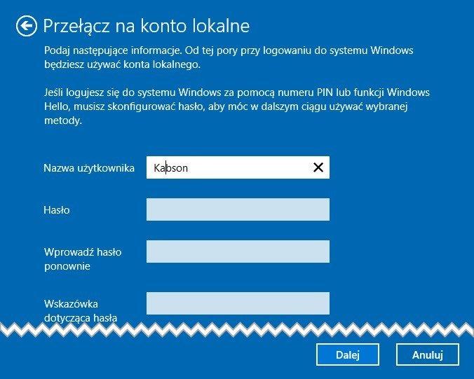 konto 3 Zmieniamy Konto Windows na konto lokalne w Windows 10
