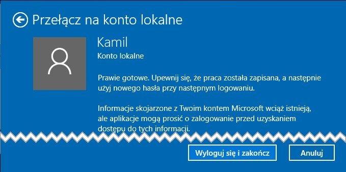 konto 4 Zmieniamy Konto Windows na konto lokalne w Windows 10