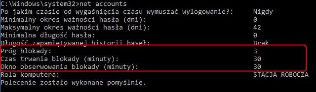 net Accounts 2 Ustawiamy blokadę konta w systemie Windows po nieudanej próbie logowania.
