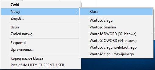 """new reg key Usuwamy """"Rzutuj do urządzenia"""" z menu kontekstowego Windows 10"""