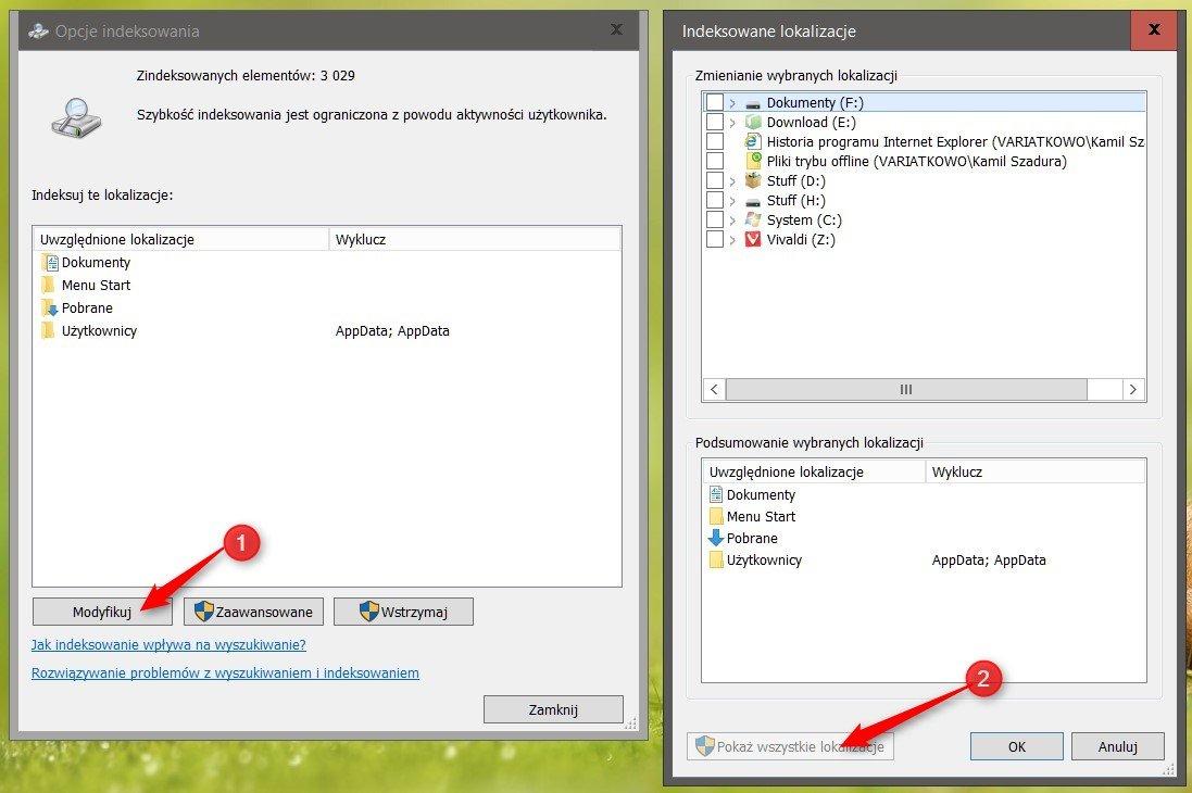 pokaz lokalizacje Optymalizujemy indeksowanie plików w systemie Windows