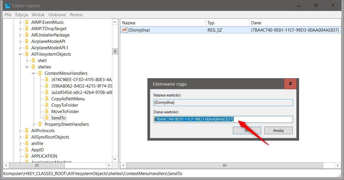 regedit send to Usuwamy pozycję Wyślij do... z menu kontekstowego Windows