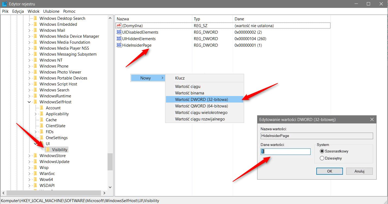 hideinsider Ukrywamy pozycję Niejawny program testów systemu Windows z panelu Ustawień.