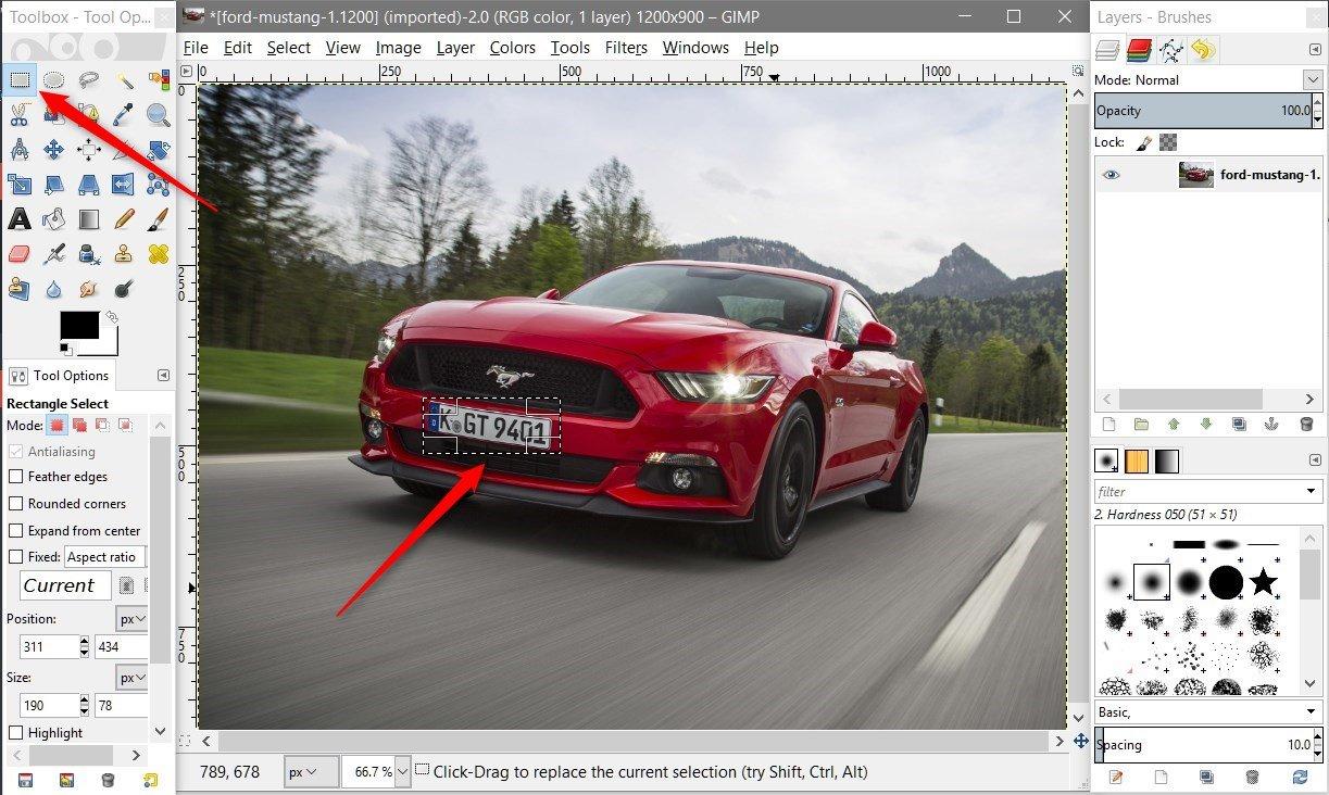 rectangle tool Jak profesionalnie zasłonić tablicę rejestracyjną w trakcie robienia zdjęć.